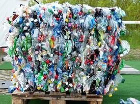 Plastic Bottles Compressed for recycling
